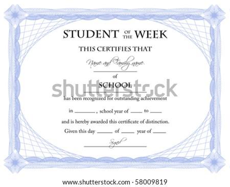 Student of the Week Certificate; Vector - stock vector