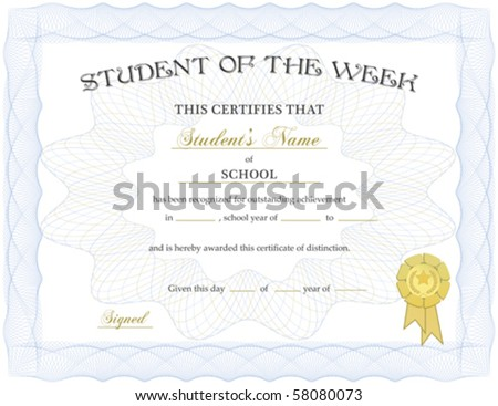 Vector certificate completion template a jpg stock vector for Student of the week certificate template free