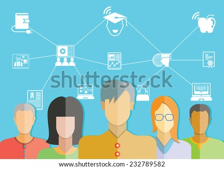 student, online education concept - stock vector
