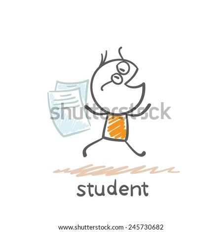 student runs with sheets of paper illustration - stock vector