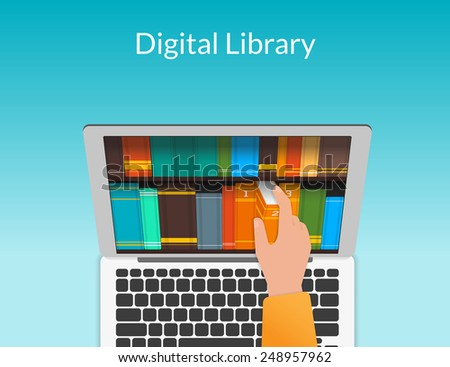 Student searching the internet books store and chooses eBooks in the digital library. Realistic illustration for educational background - stock vector