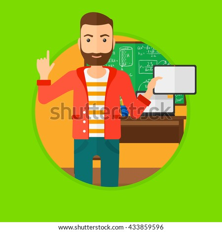 Student using a tablet computer in training class. Hipster man with tablet computer pointing forefinger up. Education technology. Vector flat design illustration in the circle isolated on background.