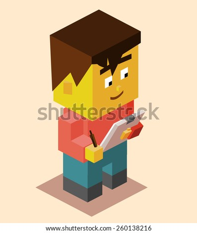 student with the clipboard. vector - stock vector