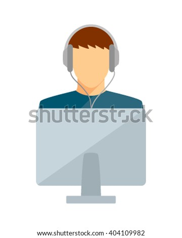 Student young man computer and headphones vector illustration. Student Computer boy on a white background. Student computer icon vector illustration. Computer man talking on Skype - stock vector