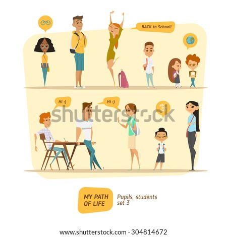Students and pupils collection  - stock vector