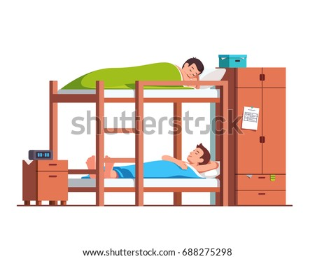 Students Friends Sleeping On Bunk Bed With Ladder. Dormitory Room Interior  With Wooden Furniture U0026