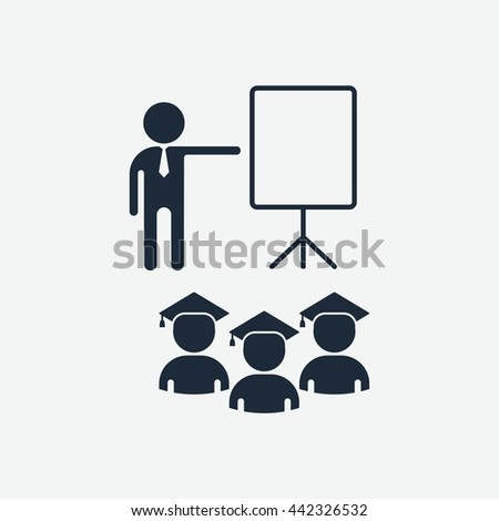 Students listen to a lecture. Flip chart for presenation. Education and management icons. Cartoon flat vector illustration. Objects isolated on a white background. - stock vector