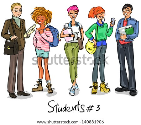 Students - part 3. Hand drawn teenagers, group of young people, set. - stock vector