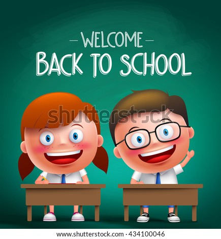 Students vector characters sitting in the desk in a classroom raising hands and writing with back to school text in the background. Vector illustration  - stock vector