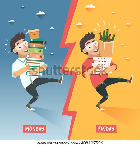 Students week concept. Overwhelmed student with pile of books VS happy relaxing student with pile of pizzas and beer bottles. Vector colorful illustration in flat style - stock vector