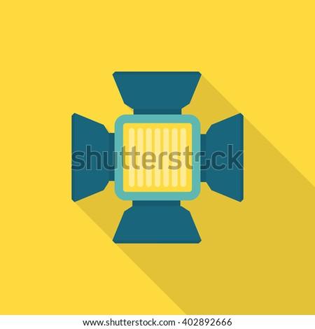 Studio flash bulb icon , Vector flat long shadow design. - stock vector