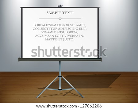 Studio interior background with screen, eps10 vector illustration with copy space - stock vector