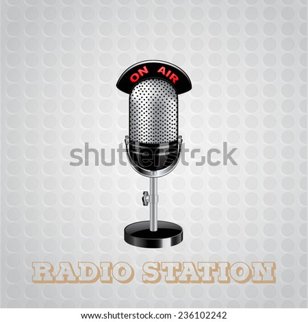 studio microphone in radio station - stock vector