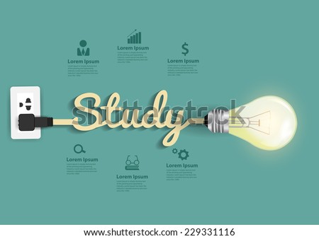 Study concept modern design template, Light bulb idea abstract infographic workflow layout, diagram, step up options, Vector illustration - stock vector
