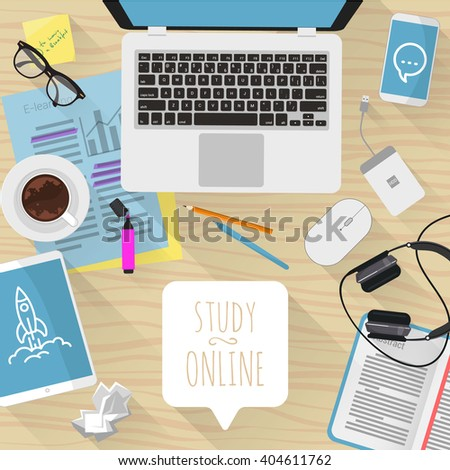 Study online. Vector desktop mock up.