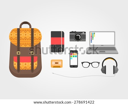Stuff in Hipster's Bag - stock vector