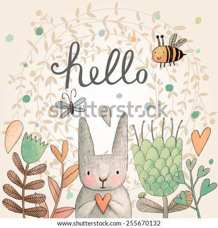 Stunning card with cute Rabbit, butterfly and bee in summer flowers. Awesome background made in watercolor technique. Bright easter concept card with hello text in vector - stock vector