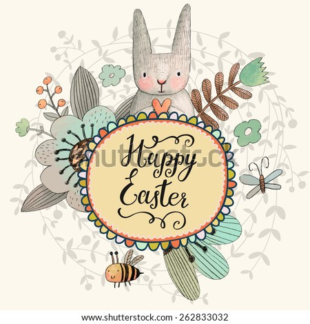 Stunning Easter card with cute Rabbit, butterfly and bee in summer flowers. Awesome background made in watercolor technique. Bright Easter concept card with text box in vector