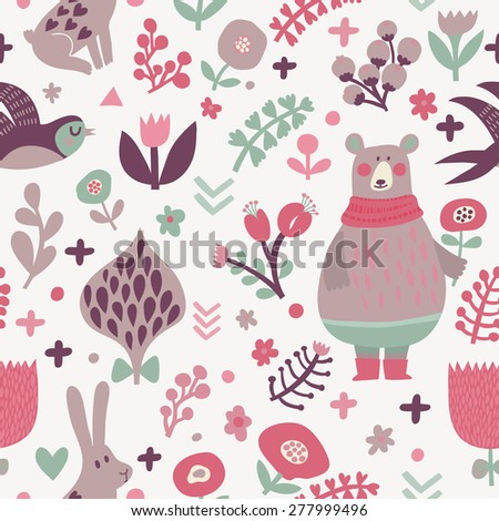 Stunning seamless pattern with birds swallows, rabbits, bear and leafs with flowers. Lovely floral background with cute animals and birds in popular colors in vector - stock vector