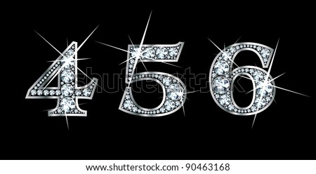 Stunningly beautiful 4, 5 and 6 set in diamonds and silver. Vector. - stock vector