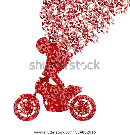 Stunt motorcycle rider performance vector background concept made of fragments isolated on white - stock vector