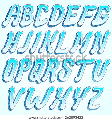 Style font fresh air blue, Part 1/2 - stock vector