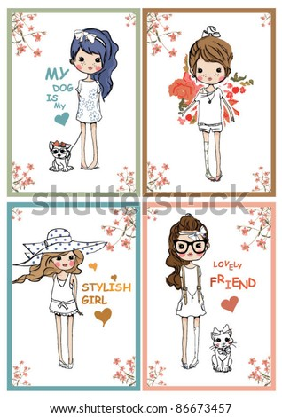 style girls with flowers