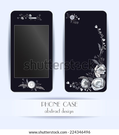 Style phone case. Print with beautiful flowers, leaves and floral elements. Vector template of cover for your mobile.