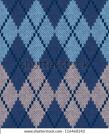 Style Seamless Blue Beige Turquoise Color Male Knitted Pattern - stock vector