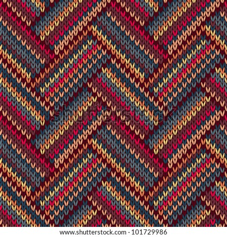 Style Seamless Brown Red Blue Yellow Color Knitted Pattern - stock vector