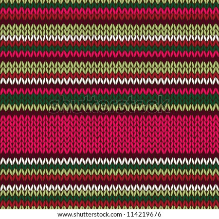 Style Seamless Knitted Pattern. Red Pink Green White Color Illustration from my large Collection of Samples of knitted Fabrics - stock vector