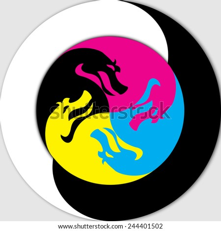 Styling Chinese symbol of Yin and Yang , depicted as color (CMYK) heads of serpents. - stock vector