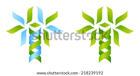 Stylised DNA tree icon concept of a DNA double helix growing into a tree or plant shape reminiscent of a caduceus - stock vector