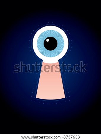 stylised illustration of a keyhole with an eye inside