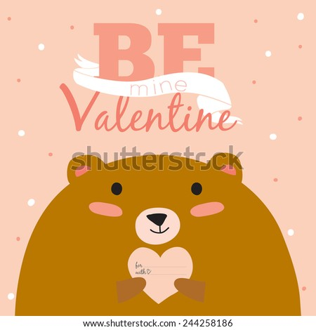 Stylish and bright romantic and love greeting card in vector for Happy Valentines Day. Funny and cute bear congratulates all of the holidays. Typographic poster with cartoon illustration and wishes - stock vector