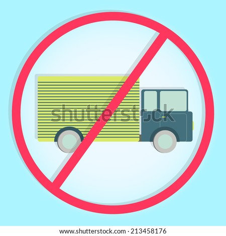 """Stylish and colorful """"no truck sign"""". Colorful symbol prohibiting trucks - stock vector"""