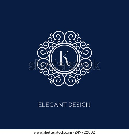Stylish and elegant monogram design template with letter K. Vector illustration. - stock vector