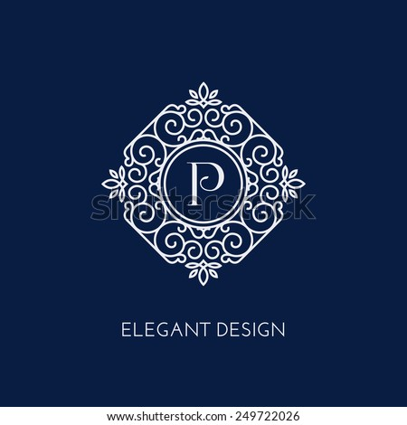 Stylish and elegant monogram design template with letter P. Vector illustration. - stock vector