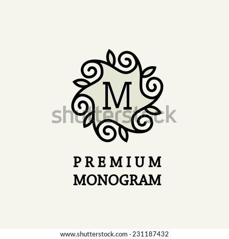 Stylish and graceful floral monogram design , Elegant line art logo design, vector template - stock vector