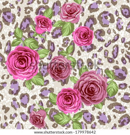 Stylish animal pattern with roses.Seamless vector background.   - stock vector