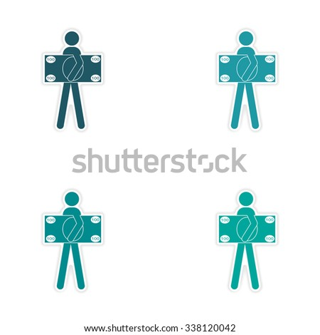 Stylish assembly sticker on paper man holding banknote - stock vector