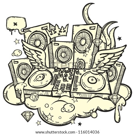 Stylish background with DJ's turntable on white background - stock vector
