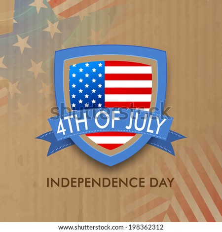 Stylish badge with American Flag and text 4th of July on vintage brown background for Independence Day celebrations.  - stock vector