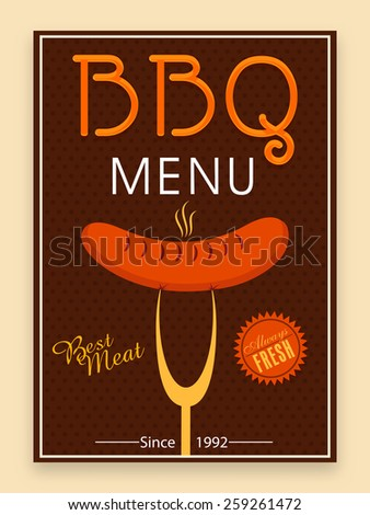 Stylish BBQ menu card, template or flyer design in brown color.  - stock vector