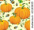 Stylish beautiful bright floral seamless pattern with pumpkin and bee, vector elegance autumn background. Flower illustration decoration texture. Repeat many times. - stock photo