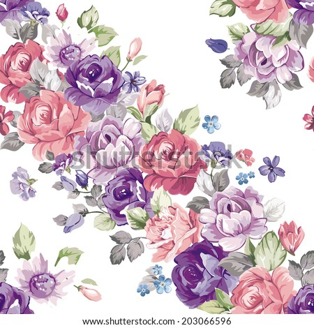 Stylish Beautiful floral seamless pattern. Retro decor illustration - stock vector
