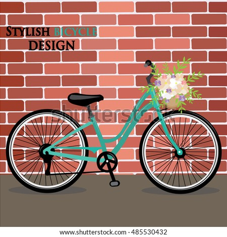 Stylish bicycle design with flowers. Flat style vector illustration.