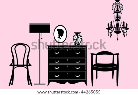 Stylish black and white home accessories and decoration - stock vector