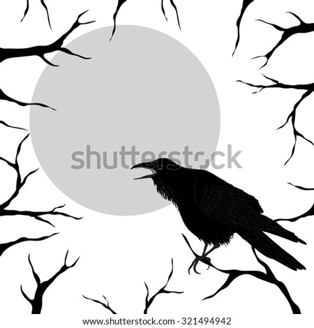 Stylish black and white template for Halloween greeting card with raven, full moon and a place for your text. Great for cards, party invitations, holiday design.  - stock vector