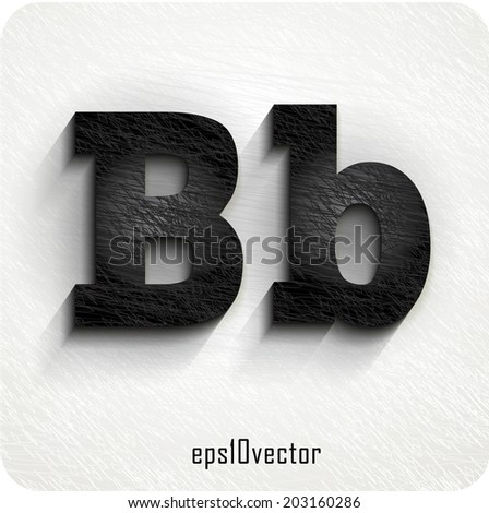 """stylish black squared shabby alphabet letters. Uppercase letter """"B"""" and Lowercase """"b"""". eps10. The rest of uppercase and lowercase letters, symbols and numbers of the alphabet in my portfolio. - stock vector"""